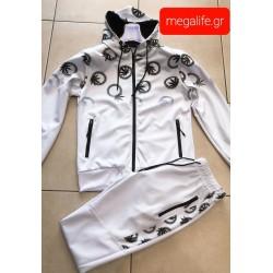 Φόρμα σέτ(ζακέτα & παντελόνι) σε 2 χρώματα άσπρο-μαύρο